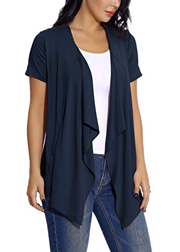 EXCHIC Damen Cardigan mit offener Vorderseite Unregelmäßiger Saum Kurzarm-Outfits (XL, Navy blau) (Kurzarm-pullover Navy)