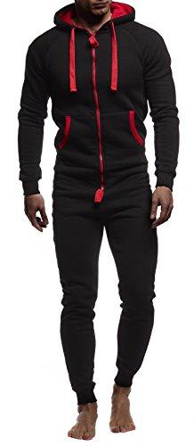 verall Jumpsuit Onesie Trainingsanzug Jogginghose Trainings T-Shirt Fitness Stringer Bekleidung LN8154; Größe S; Schwarz-Rot ()
