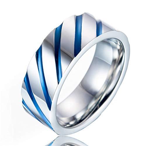 JIEZHI Mode 10Mm Edelstahl Blau Gestreiften Band Ring Für Mann Frauen