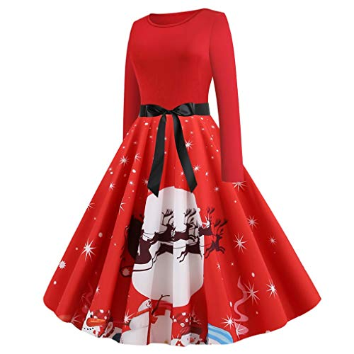 LILICAT Damen Vintage Kleider Rockabilly Kleid Elegante 1950er Retro Kleider Weihnachtsdeko Cocktailkleider Langarm Abend Party Prom Swing Dress Rundhals Schwingen Kleid Faltenrock (Elasthan Petite Tunika)
