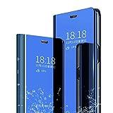 MLOTECH Coque Huawei P20 Lite,+Verre trempé Flip Clear View Translucide Miroir Cover Standing 360°Housse étui Antichoc Smart Cover Bumper Bleu Ciel