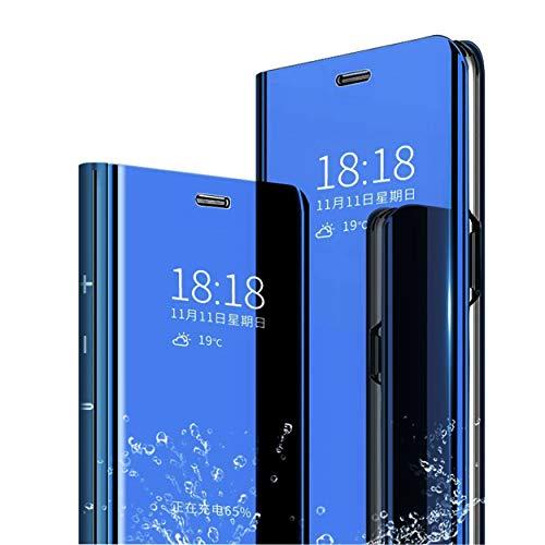 MLOTECH Funda Huawei P20 Lite,Funda Case + Cristal Templado Flip Clear View Translúcido Espejo Standing Cover Slim Fit Anti-Shock Anti-Rasguño Mirror 360°Protectora Cubierta Azul Cielo