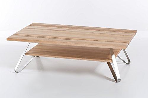 Woodlive Massivholz Couchtisch VETUS aus Kernbuche, Wohnzimmertisch aus Holz, mit 3-teiliger Tischplatte, Beistelltisch inkl. Ablageboden, Tisch 115 x 75 cm