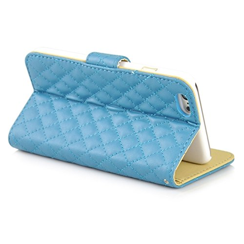 Phone case & Hülle Für iPhone 6 Plus / 6S Plus, Plaid Stitching Line Horizontale Flip PU Ledertasche mit Card Slots & Halter ( Color : Magenta ) Blue