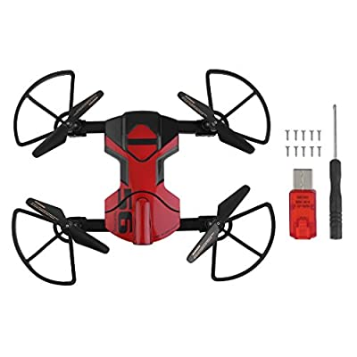 KinshopS 33056S Mini Foldable Drone With 0.3MP HD Camera FPV RC Helicopter Practical Quadcopter Toy Headless 2.4Ghz 6 Axis Gyroscope Wifi Remote Control Drone (Black&Red) from Kinshops