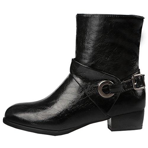 ENMAYER Femmes Dames Casual Synthétique Sweet Round Toe Block Heel Boucle Cheville Bottes Noir