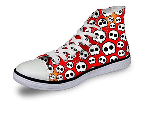 New Cool Skull Fashion Women's Canvas Shoes High Top Casual Sneakers Lady Shoes 4 red Skull 5