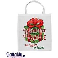 Borsa shopper Le sorprese di Natale PERSONALIZZATA con i vostri nomi, idea per confezionare i regali di Natale in modo personalizzato! Pacchetto di Natale!