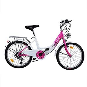 Ridgeyard 20 Pollici Bicicletta da Bambina Bici Ragazzi Ragazze per 12-16 Anni (Rosa + Bianco)