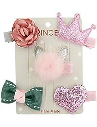Forberesten Girls Hair Clips, 5Pcs/set Kids Infant Hairpin Baby Girl Cute Bow Cartoon Motifs Party Hair Clip Set