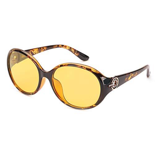 FIMILU Nachtfahrbrille, Anti-Glare HD Polarisierte Vision Gelb Objektiv Schutzbrille für Frauen (Braun (Stil-3))