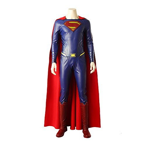 Superman Black Kostüm - QWEASZER Justice League Superman Cosplay Kostüm Herren Superheld Kostüm Onesies, Mäntel, Schuhe, Halloween Cosplay Bodysuit Kostüm Requisiten Deluxe Edition,Black-Custom Size
