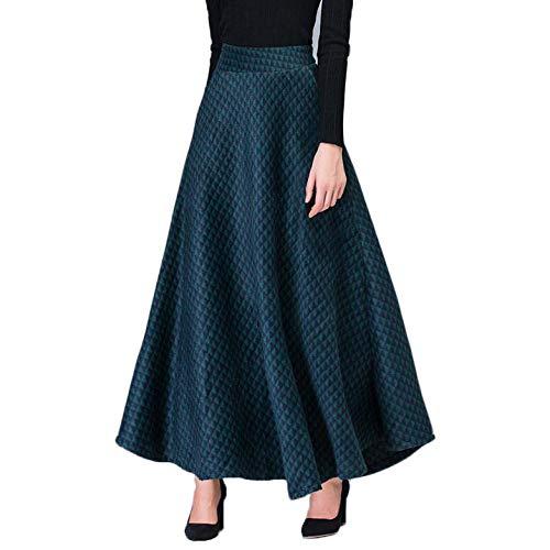 Damen Wolle Maxi Swing Rock Damen Plaid A-Line Doppeltaschen Lange Ausgestellte Röcke Herbst Winter Warm Verdicken 5 Farben Erhältlich,Green-S - Vintage-wolle Plaid Rock