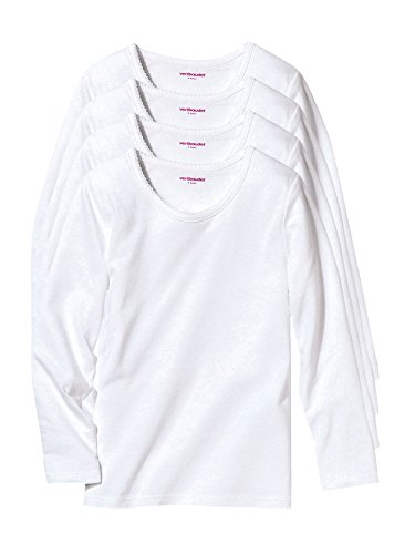 Vertbaudet 4er-Pack Langarm-Shirts für Mädchen weiß 86