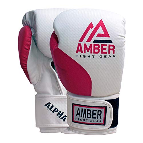 Amber Fight Gear Alpha Series Pro Style Boxen Kickboxen Muay Thai MMA Trainingstasche Sparringhandschuhe 340 g rot/weiß -