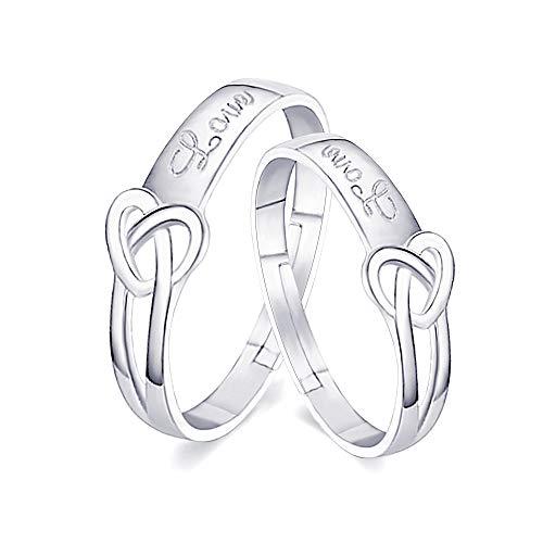 Wikimiu anello coppia in argento 925, anello regolabile regalo per gli amanti per san valentino compleanno e feste