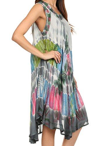 Sakkas Palmier Tie Dye Caftan Robe / Cover Up Gris