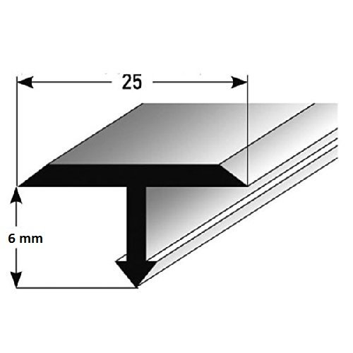 **TOPSELLER** T-Profil für Übergänge, Montageprofil / Bauprofil, 25 x 6 mm aus Aluminium, Silber