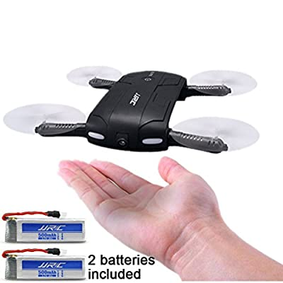 OKPOW New Version Pocket Selfie Drone WIFI Control Aerial Video Quadcopter Drone Foldable RC Quadcopter Drone with One Key Selfie/Video Function 2.4G 6-Axis Gyro Altitude Hold 3D Flips&Rolls One-key Return Headless Mode Remote Control Quadrotor With HD Ca