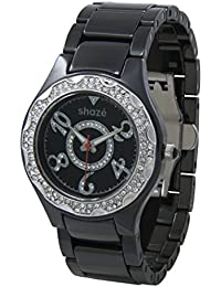 SHAZE Analog Black Embellished Ceramic Watch for Women|Watches for Womens Latest|Watches for Girls Stylish