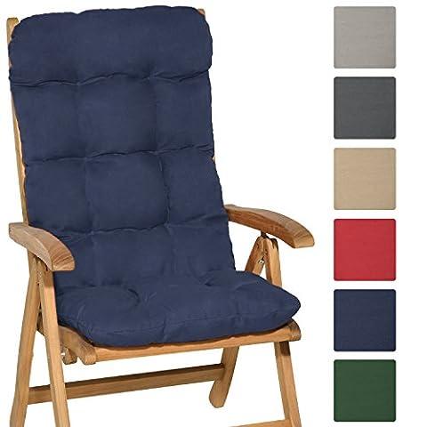 Beautissu High Back Chair Cushion Flair HL 120 x 50 x 8 cm Recliner Garden Chair Pad Soft Foam Flakes Dark