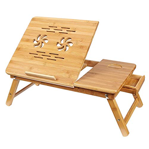 Cloudeal Bamboo Multi Purpose Laptop Table with Two Cooling Fans...