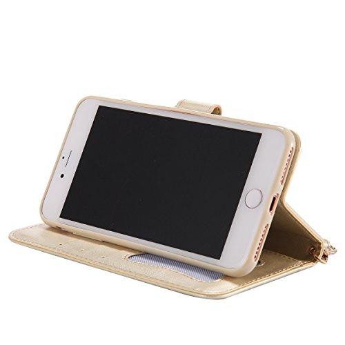 Custodia Cover Fluorescente per iPhone 7/8 plus, Ukayfe Luxury Puro Colore [notte si illumina] Flip Custodia Modello Goffratura Donna e Gatto Cristallo 3D Fluorescenza Design Bumper Slim Folio Protett Doro