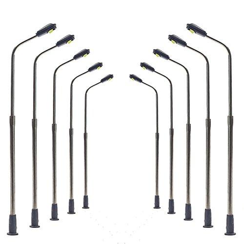 10 Stk. Peitschenlampen LED 60mm Spur N Straßenlampen flexible Höhe LQS06