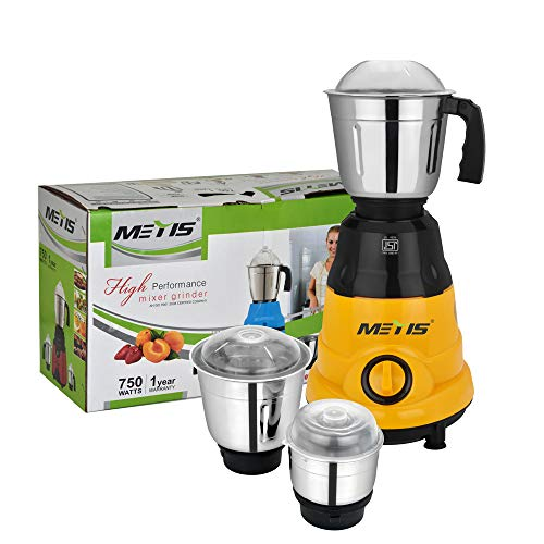 Metis 750-Watt Rolex-01 Mixer Grinder with 3 Jars,(Orange)