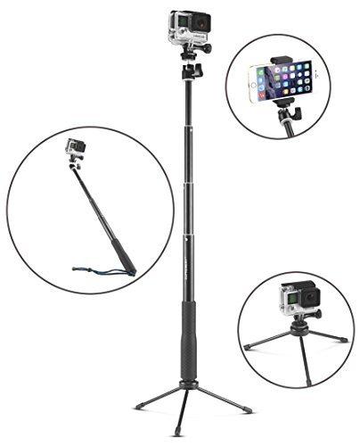 """Supremery SupPole Q3 Erweiterbarer Selfie Stick Pole Selfiestange Stativ / Einbeinstativ + Dreibein Standfuß für Samsung Gear 360, Bose Soundlinke Revolve, GoPro Hero 5/4/3+/3/2/1 hd Kameras & Kompaktkameras mit 1/4"""" Gewindebohrung & Smartphones, mit Handy-Halter + GoPro Stativgewinde Adapter + Schraube + Handschlaufe"""