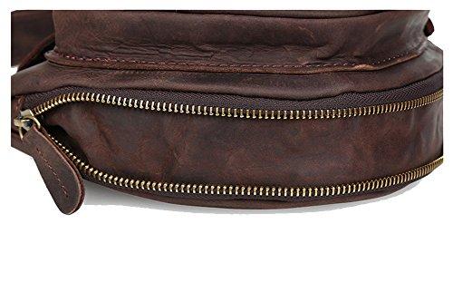 Modelshow Mode Echtleder Brust tasche Retro Bote Tasche Hohe Kapazität Schulter Tasche (dunkelbraun) dunkelbraun