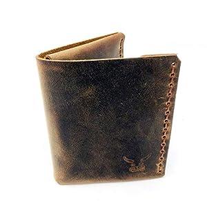brauner mini Männer Leder Geldbeutel, handgenäht & metallfrei