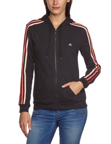 adidas Damen Trainingsjacke Essentials 3-Stripes, schwarz/rot, L, Z31166