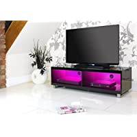 """Centurion Carus Gloss Black Dual Compartment Stylish Contempory 26""""-55"""" Flat Screen Designer TV Stand with 16 Colour LED Lights"""