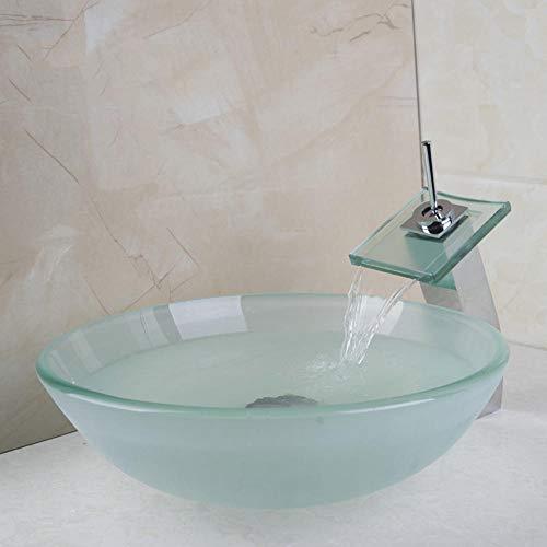 LLLYZZ New Frosted Victory Glas Waschbecken Square Chrome Wasserfall Wasserhahn Mit Runden Gehärtetem Glas Waschbecken Set - Frosted Bad Set