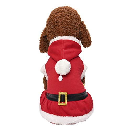 Bluelucon Winter Hunde Bekleidung Hund Kostüm Weihnachtsmann-Hunde-Kostüm Santa Anzug Warme Mode Pullover Mit Kapuze Fleece Kostüm Hundemantel (Hunde Tuxedo Kostüm)