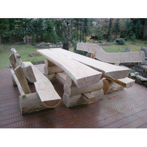 RUSTIKALE SITZGARNITUR AUS NADELHOLZ / Deutsche Handwerksqualität / 2,50m- Länge / Sitzkapazität für 10 Personen / Jede Sitzgruppe ist ein Unikat / 550 kg