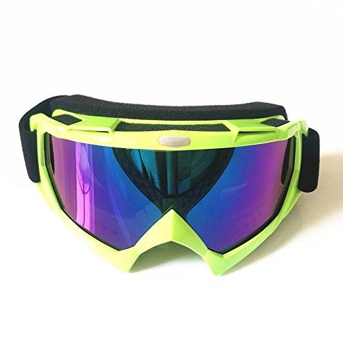 Lmeno Winter Radfahren Skibrille Bunt Linse Snowboardbrille Motorrad Motocross fahren GoggleBrille Anti Fog Winddicht Ski Goggles UV-Schutz Sonnenbrillen Augenschutzbrillen Grün