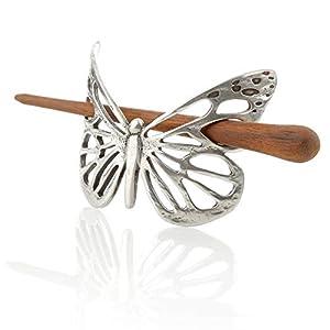 Celtic Butterfly Haarspange – Keltischer Schmetterling mit Stab aus Palisander