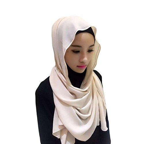 Meijunter Muslim Femmes perle Chiffon perceuse Couvercle de tête Islamic Écharpe Arabian Châle Hijab 04#