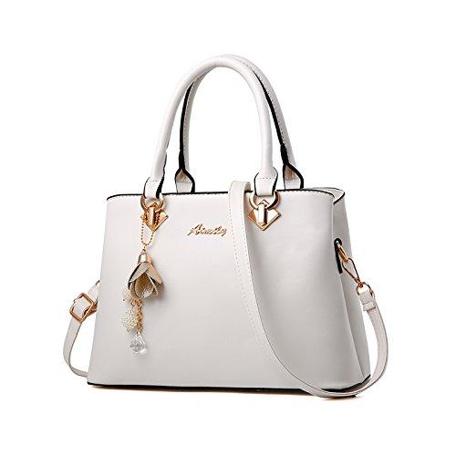 Tisdaini Damenhandtaschen Mode Schultertaschen PU Leder Shopper Umhängetaschen - Designer Leder Weiß