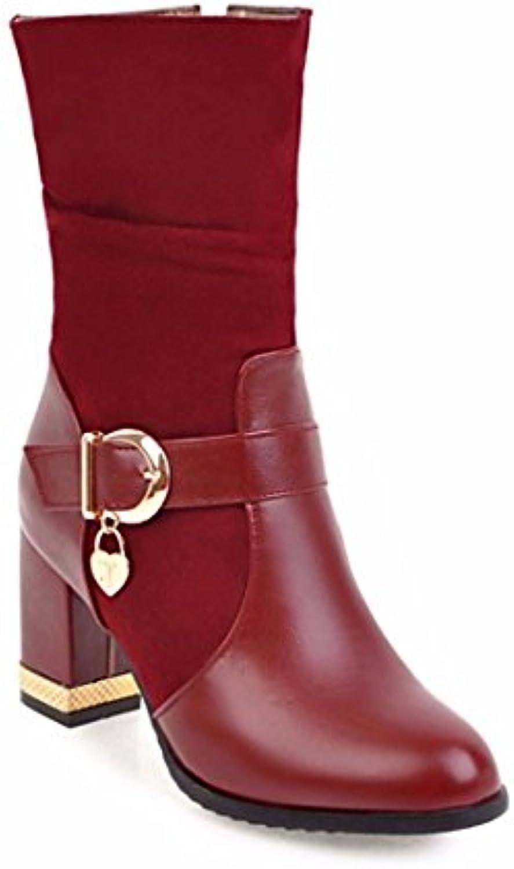 Zapatos de tallas grandes hebilla en botas de invierno con gruesas botas de tacón alto de