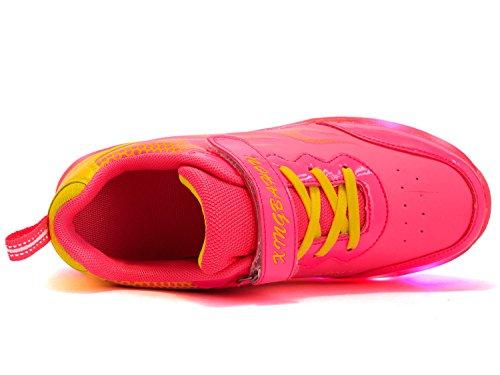 Mr.Ang Skateboard Schuhe Flügel-Art Rollen Verstellbare Schlittschuhe neutral Rollschuh Schuhe mit LED 7 Farbe Farbwechsel Lichter blinken Skateboard Lnline Sneaker Einzelnes Rad Schuljunge Mädchen Rose Red