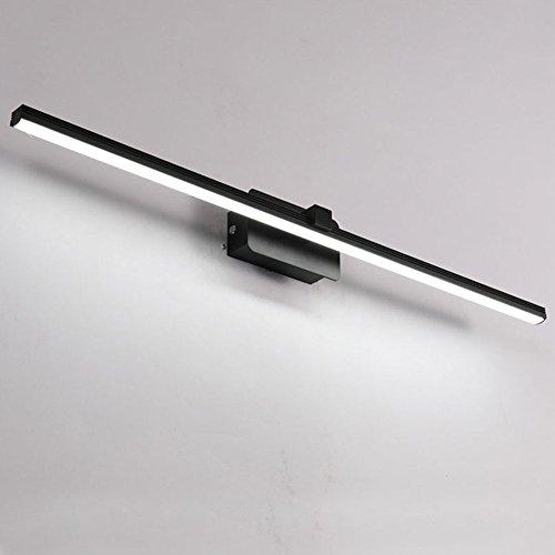 Topdeng Led Spiegel-leuchte Wandlampe, Badezimmer Spiegellicht, Modern Einfache Kosmetikspiegel Edelstahl Aluminium Badezimmer Wandleuchten-Warmweiß-Schwarz-16W 80cm(31inch)