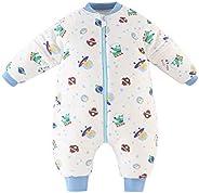 Bebé Saco de Dormir para Niños Niñas Manga Separable con Piernas Algodón Pijama Cremallera Mamelucos Mono Invi
