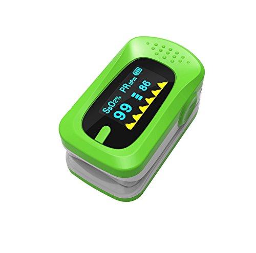 LED Finger Clip Sauerstoff Meter Finger Pulse Sauerstoffsättigung Überwachung Monitor Herzfrequenz Messgerät für Home Health Care (Mehrfarbig optional), grün