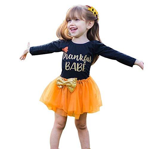 Hirolan Kleidung Set Thanksgiving Outfits Kleider Kleinkind Kinder 6-24 Monate Baby Mädchen Langarm Brief Mode Niedlich Bogen Tutu Tüll Kleid(Schwarz,80)