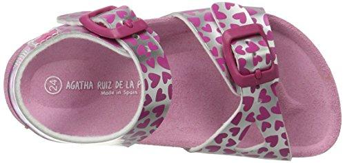 Agatha Ruiz de la Prada 172982, Sandales  Bout ouvert fille Rose (Plata Y Estampado Corazones)