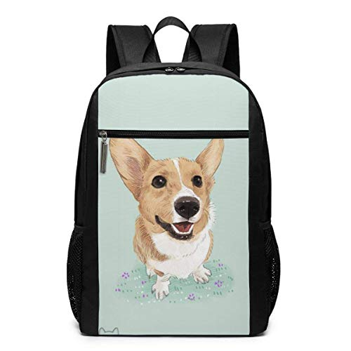 TRFashion Rucksack Koki Dog Big Ears Fashion Student Outdoor Backpack 17in Teens Bookbags Travel Laptop College Business Daypack Schoolbag Book Bag for Men Women Black