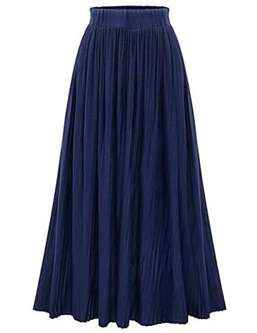 YesFashion Femme Jupe Longue Casual Uni Rplient Style Rétro Vintage Taille Bande élastique Jupe Tricoté Bleu foncé Taille Unique